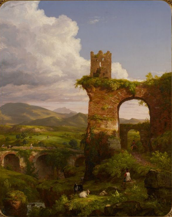 landscape with ruins, cows and people