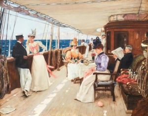 elegant people on a yacht