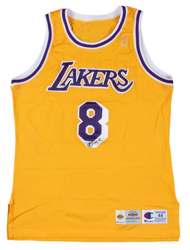 Kobe Bryant rookie laker's jersey, yellow with purple lettering
