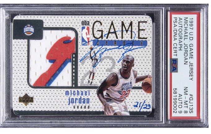 Michael Jordan game worn jersey trading card