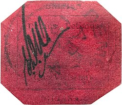 Magenta postage stamp from British Guiana in 1856