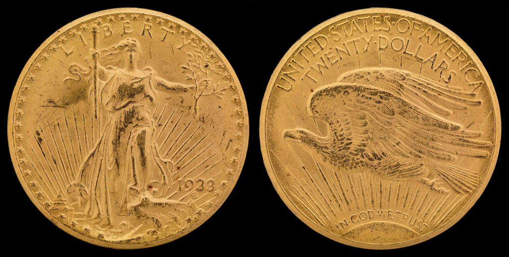 United States Double Eagle twenty dollar gold coin minted in 1933