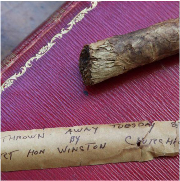 Winston Churchill's cigar butt from the 1940s with brown paper wrapper