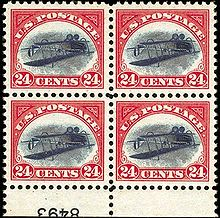 a plate block of the misprinted inverted jenny stamp