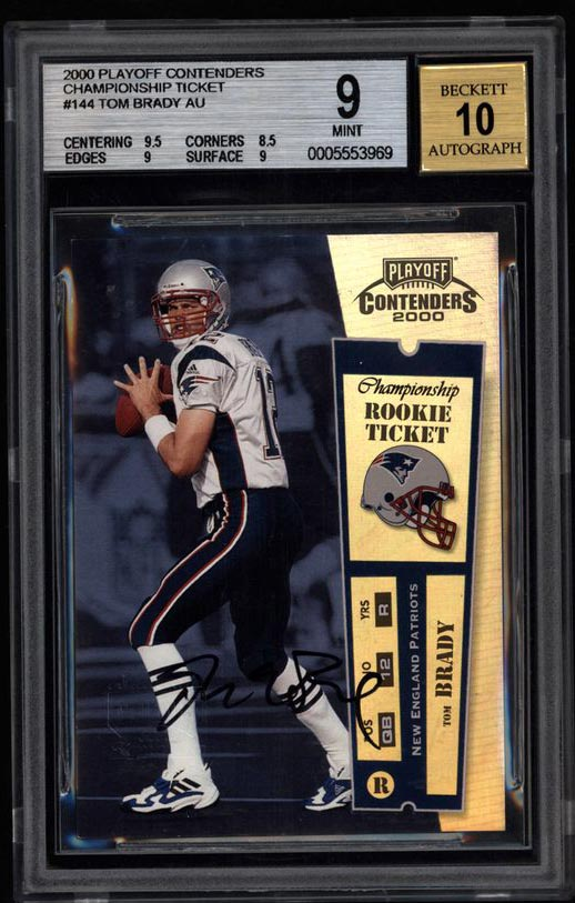 2000 Playoff Contenders Championship Rookie Ticket card, with Brady's autograph, received a Mint 9 grade, with a perfect 10 for the signature