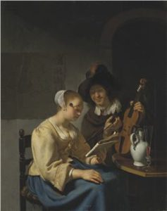Two musicians in an interior