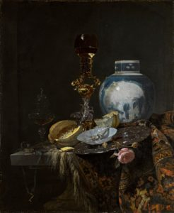 still life of flowers and objects