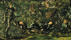 a group of figures asleep in the forest
