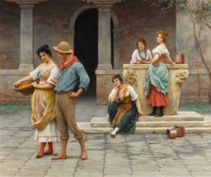 a ground of figures in a courtyard