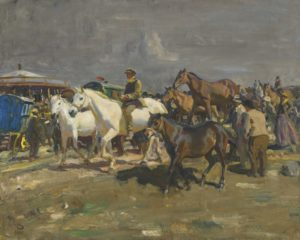 horses and people rushing away from a storm