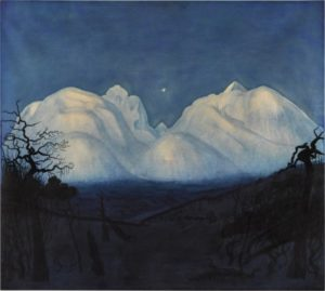 a landscape with snow covered mountains