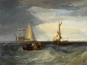 marine painting featuring ships in a rough sea