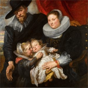 portrait of a man, woman and two children