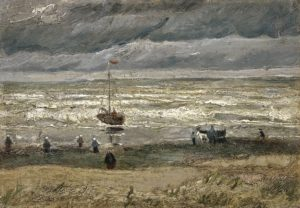 a beach scene with figures and boats