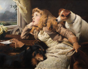 a young girl with dogs looking out a window