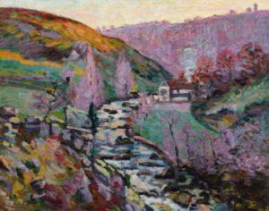 a colorful river landscape
