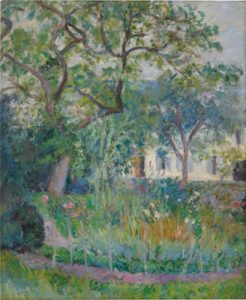 an impressionist landscape with a house