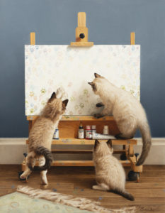 a purrrfect group of cats at an easel