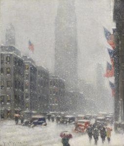 snow scene in New York