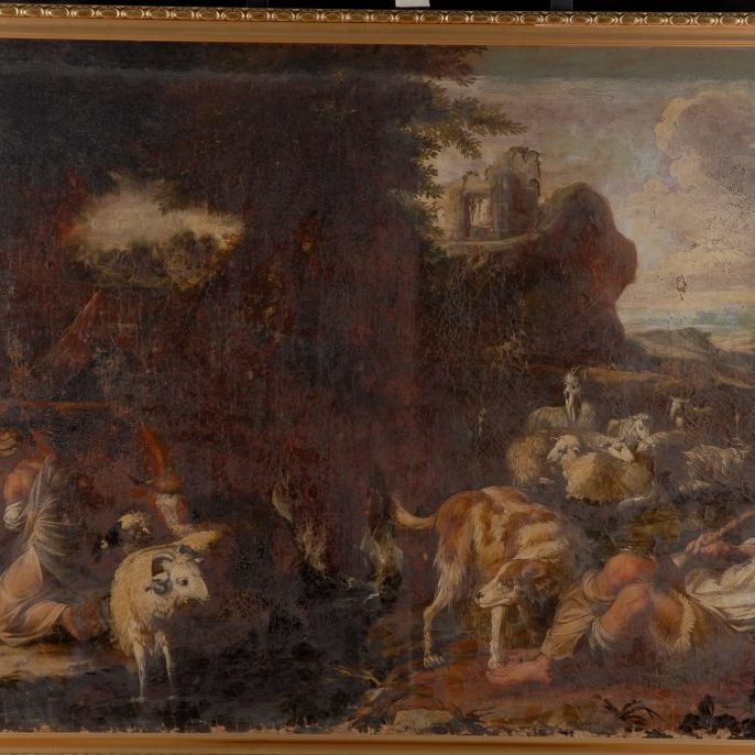 figures with animals in a landscape