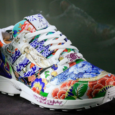 Adidas hand painted sneakers with designs from meissen porcelain