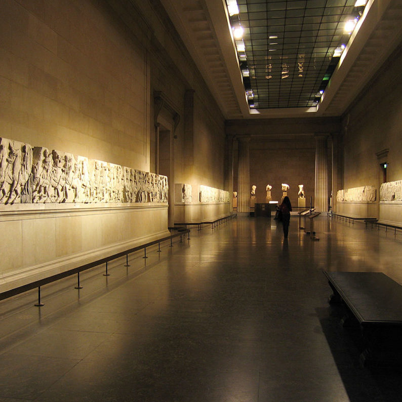 view of the Elgin Marbles at the British Museum
