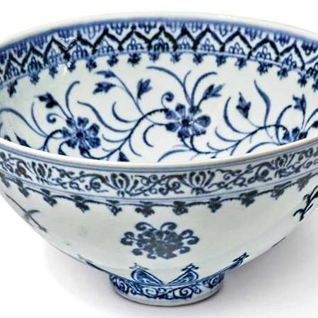 blue and white lotus shaped small bowl
