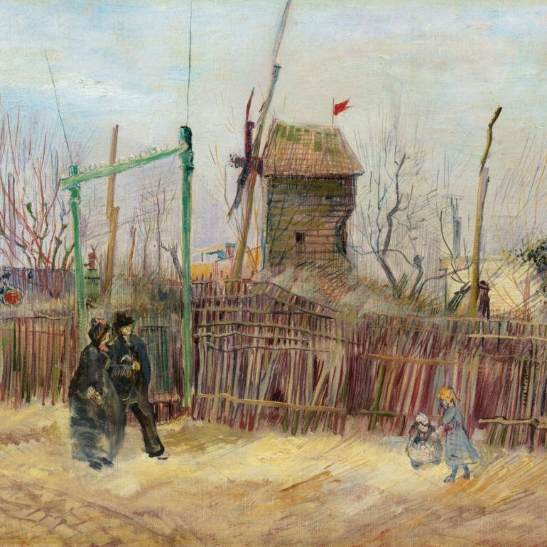 landscape with people and a windmill