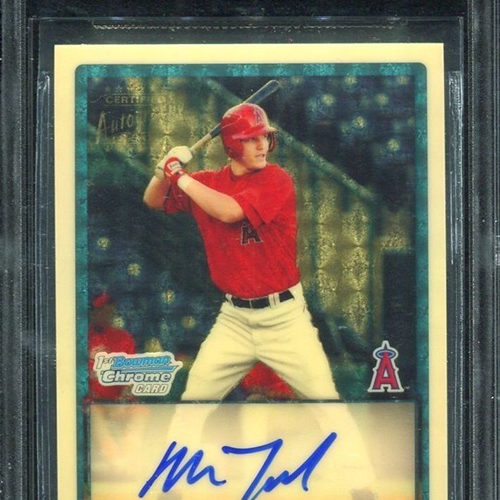 Baseball card, man in red and white, blue signature