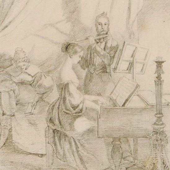 drawing of figures playing instruments