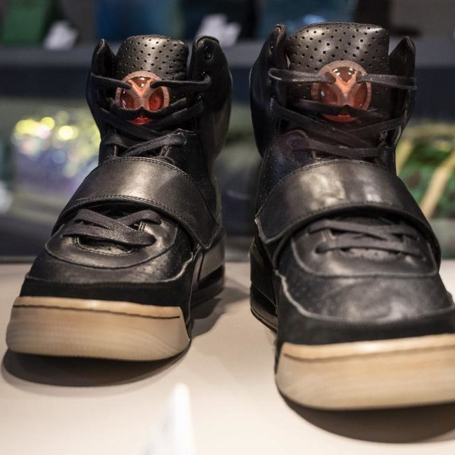 Kanye West Nike Air Yeezy sneakers, black with leather strap