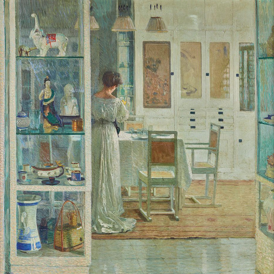 Interior scene with a woman