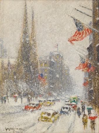 St. Patrick's cathedral in winter with American flags and cars